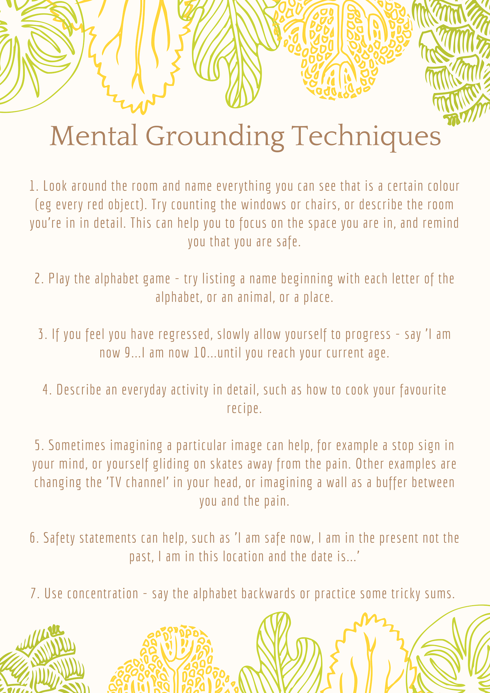 Mental Grounding Techniques Poster