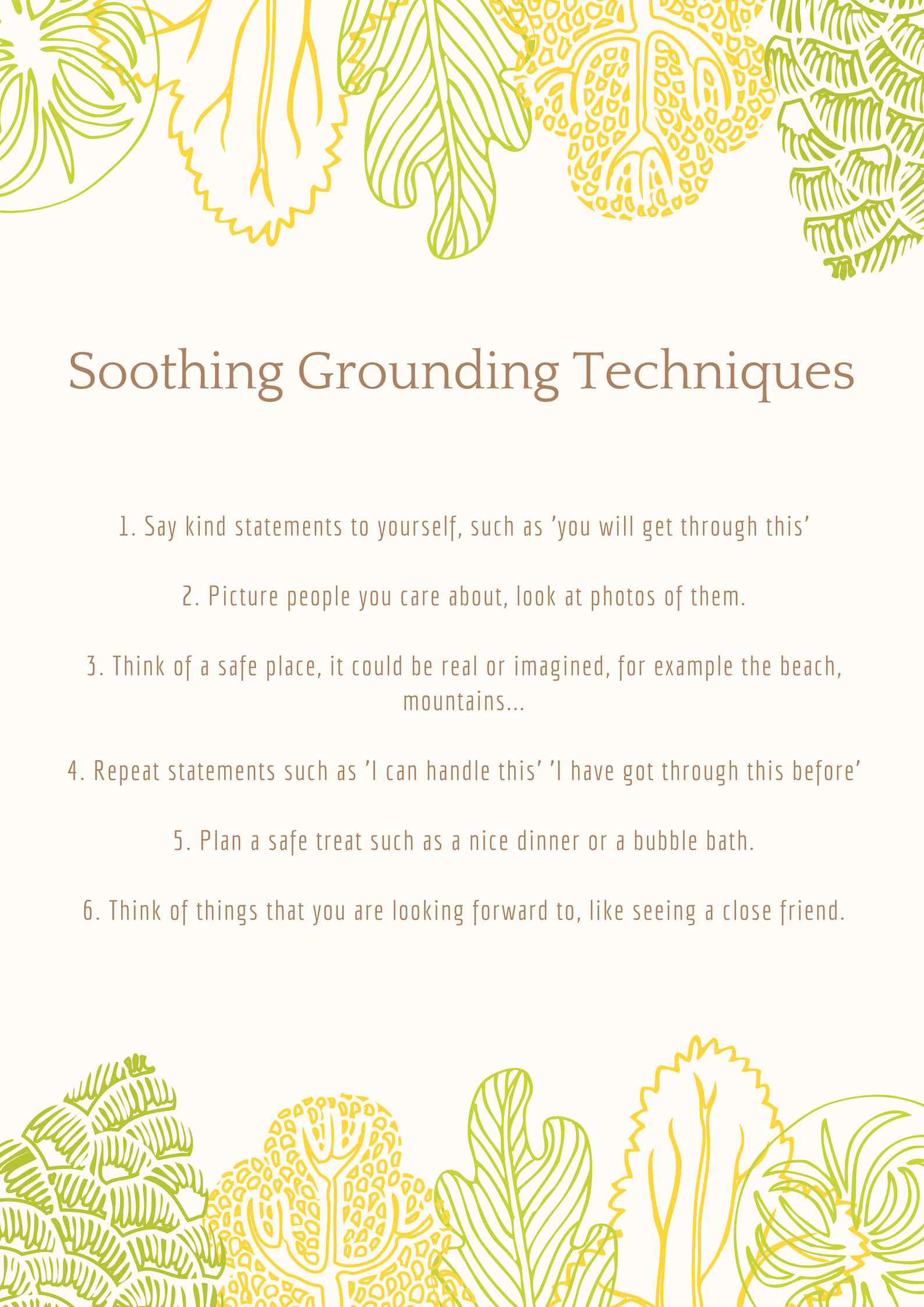 Soothing Grounding Techniques Poster