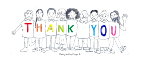 "Line drawing of people with the words ""thank you"" spelled out on their t-shirts"