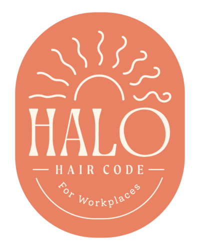 "Coral coloured oval with the Halo logo on it and the words ""Halo hair code for workplaces"""