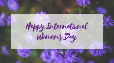 Happy International Women's Day on a floral background