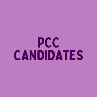 """""""PCC Candidates"""" written in bold over a purple background"""