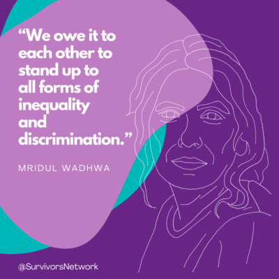 """""""We owe it to each other to stand up to all forms of inequality and discrimination"""" - Mridul Wadhwa. Quote overlaying a purple and turquoise pattern, with a line drawing of Edinburgh CEO Mridul Wadwha to the right."""